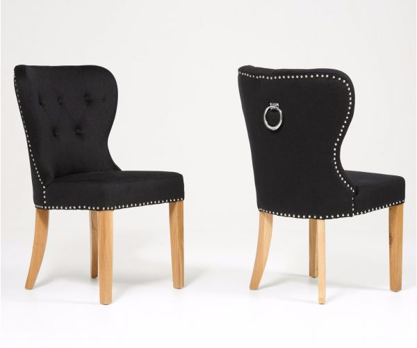 Mark Harris Kalim Black Solid Oak and Fabric Dining Chair in Pair