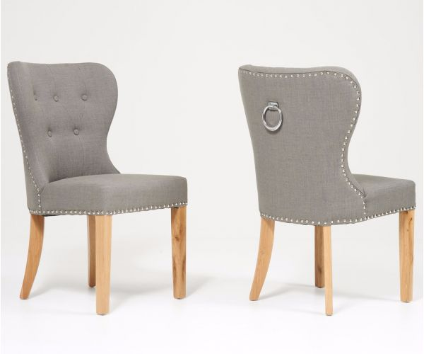 Mark Harris Kalim Grey Solid Oak and Fabric Dining Chair in Pair