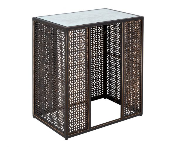 Serene Furnishings Kashmir Mirrored Glass and Brown Square Lamp Table