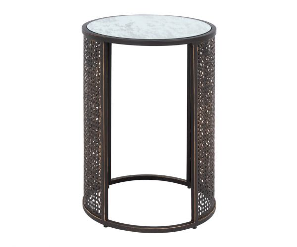 Serene Furnishings Kashmir Mirrored Glass and Brown Round Lamp Table