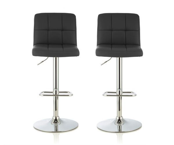 Serene Furnishings Katniss Black Faux Leather Bar Stool in Pair