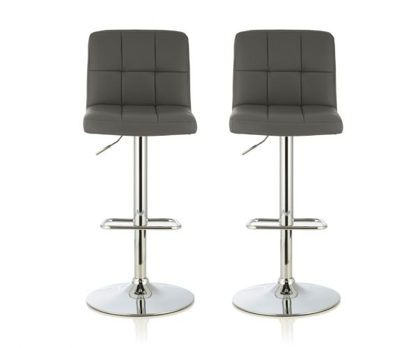 Serene Furnishings Katniss Grey Faux Leather Bar Stool in Pair