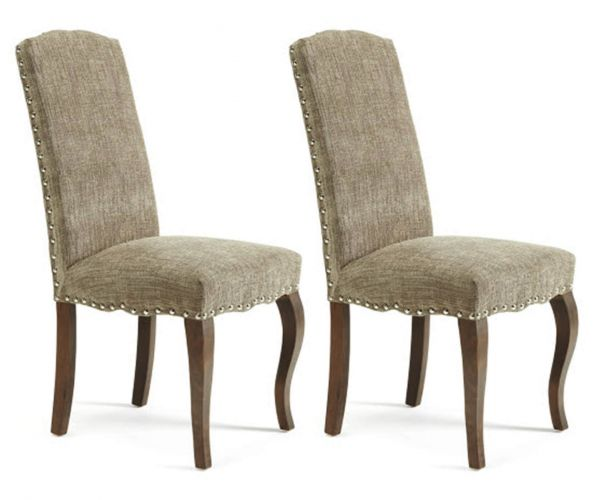 Serene Furnishings Kensington Bark Fabric with Walnut Legs Dining Chair in Pair