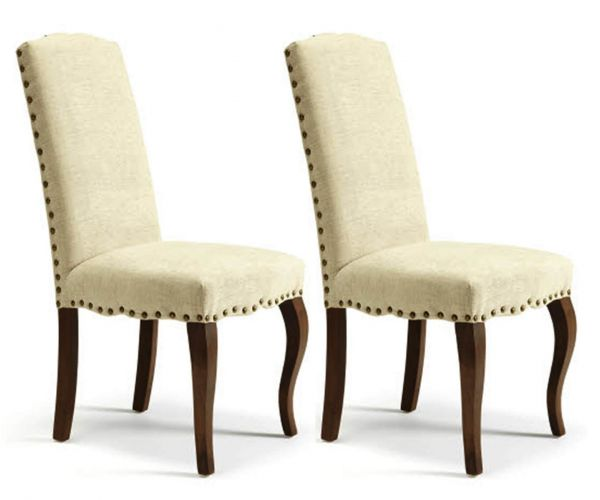 Serene Furnishings Kensington Pearl Fabric with Walnut Legs Dining Chair in Pair