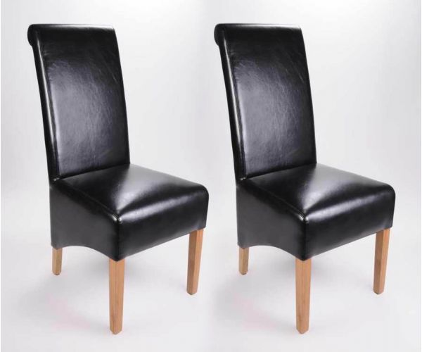 Shankar Krista Black Bonded Leather Dining Chair in Pair