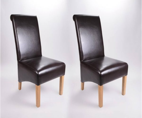 Shankar Krista Brown Bonded Leather Dining Chair in Pair