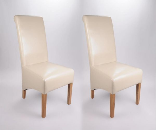 Shankar Krista Ivory Bonded Leather Dining Chair in Pair