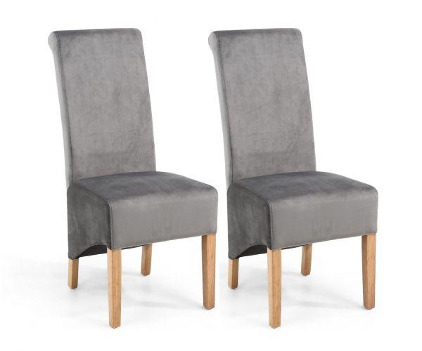 Shankar Krista Velvet Grey Roll Back Dining Chair in Pair