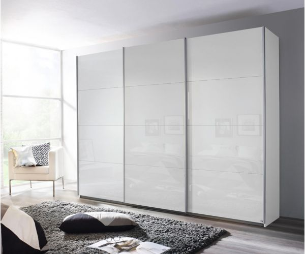 Rauch Kulmbach White Glass Front 3 Sliding Glass Door Wardrobe with Chrome Colour Handle Strips(W271cm)