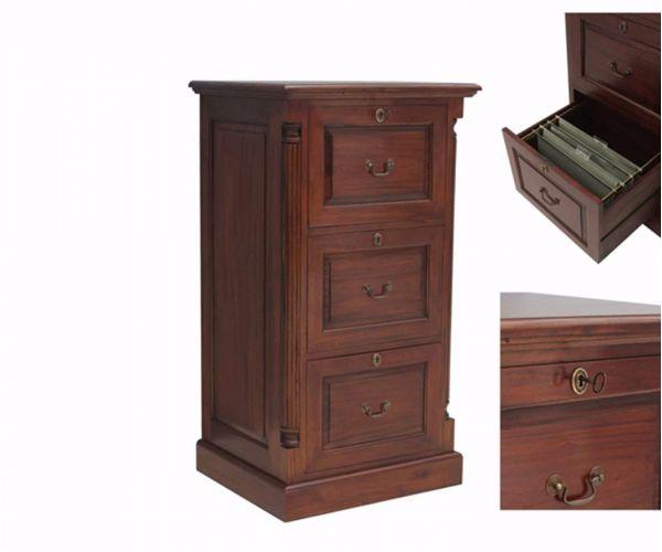 Baumhaus La Roque Mahogany 3 Drawer Filing Cabinet