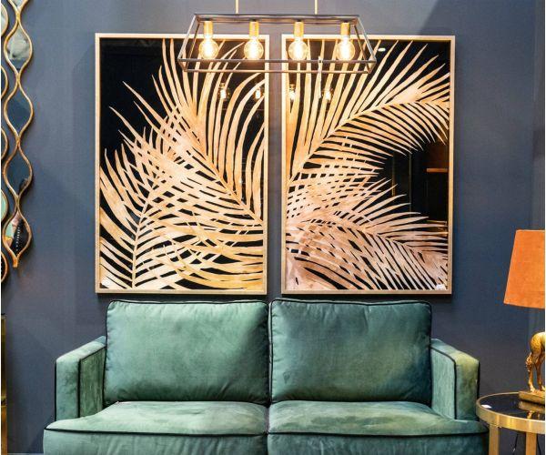 Large Metallic Palm Leaf Glass Image in Gold Frame