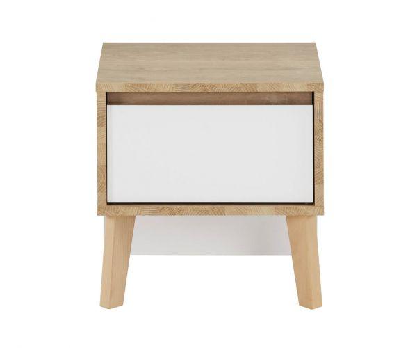 Gami Larvik White 1 Drawer Bedside Table