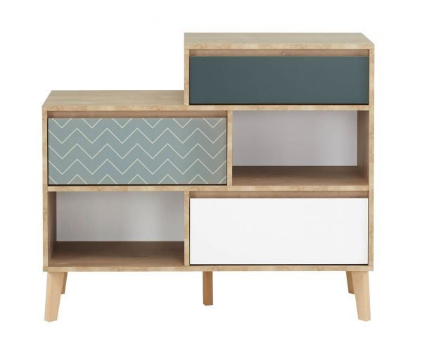 Gami Larvik Blond Oak 3 Drawer Chest and 2 Compartment