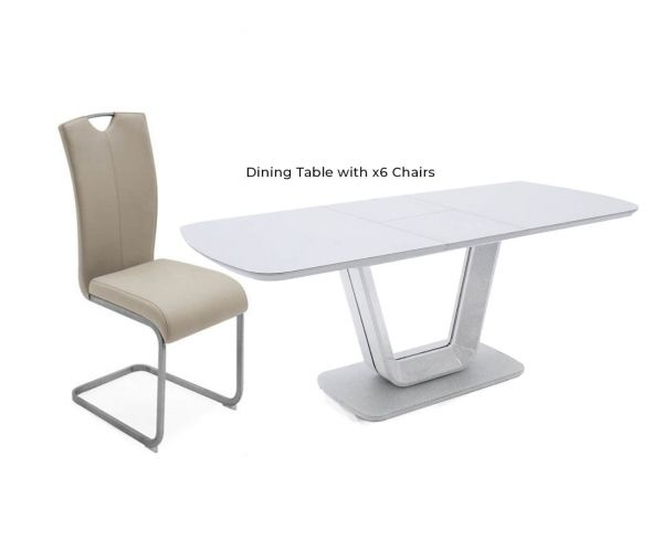 Vida Living Lazzaro White Gloss Extending Dining Table with 6 Chairs