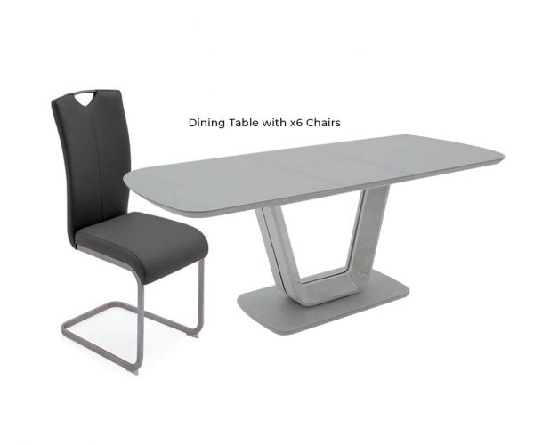 Vida Living Lazzaro Grey Extending Dining Table with 6 Chairs