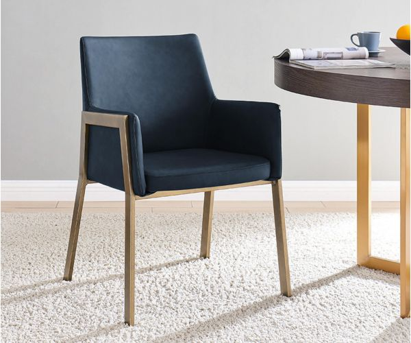Derrys Furniture Leigh Night Blue Faux Leather with Brass Dining Armchair