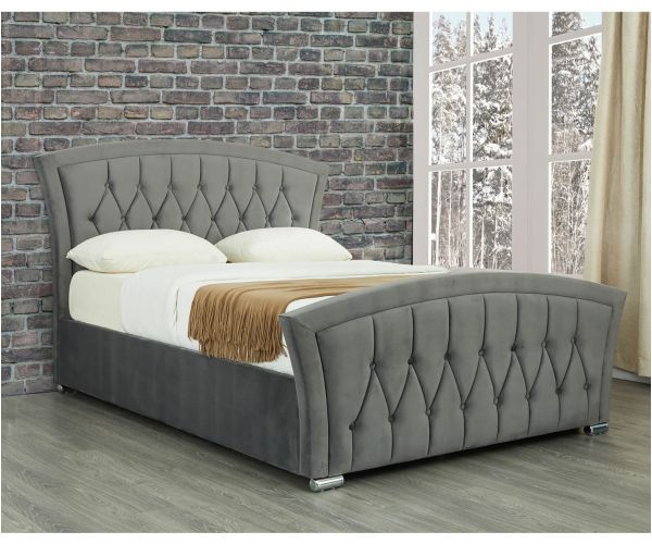 Sweet Dreams Leigh Grey Velvet Fabric Ottoman Bed Frame