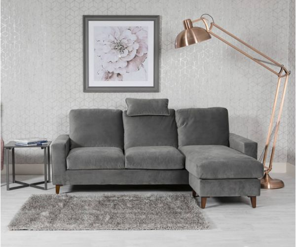 Furniture Line Lenny Grey Fabric Chaise Sofa