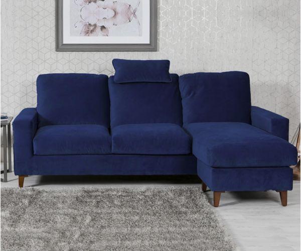 Furniture Line Lenny Blue Fabric Chaise Sofa