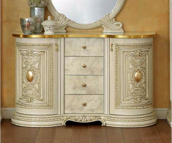 Camel Group Leonardo Ivory and Gold Finish 2 Door Buffet with Drawer