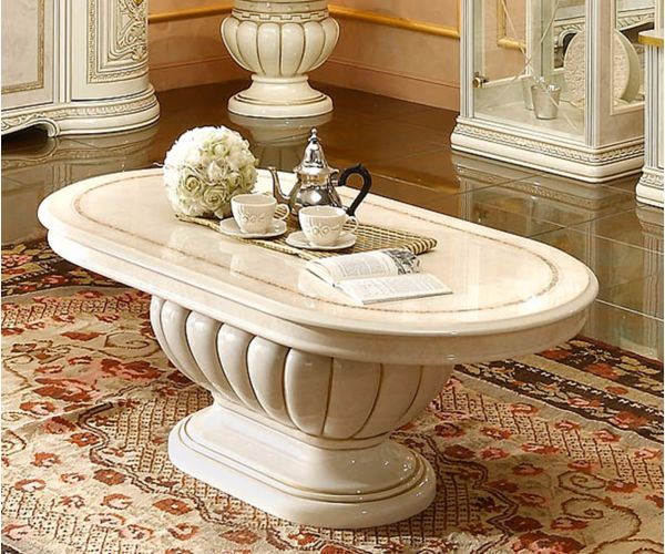 Camel Group Leonardo Ivory and Gold Finish Coffee Table