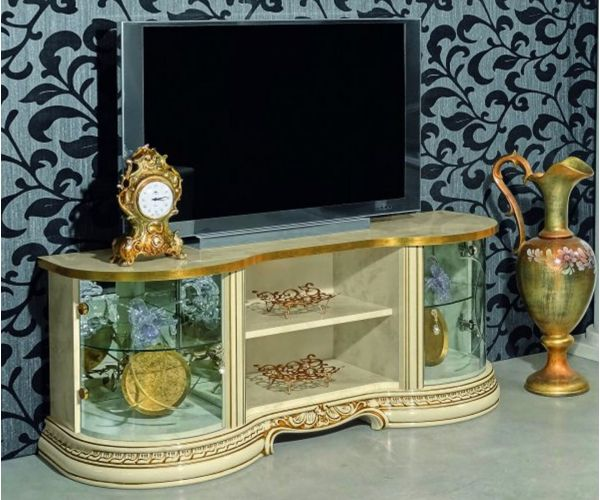 Camel Group Leonardo Ivory and Gold Finish Mini TV Cabinet