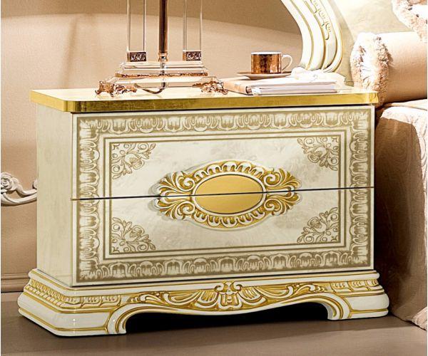 Camel Group Leonardo Ivory and Gold Finish Bedside Table
