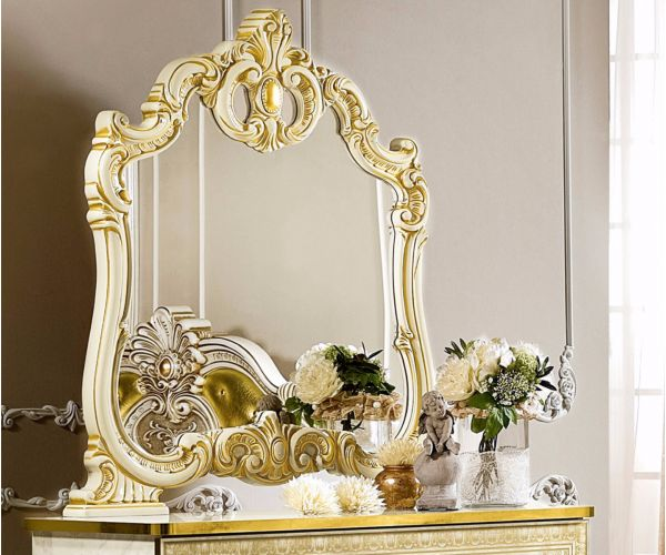 Camel Group Leonardo Ivory and Gold Finish Small Mirror