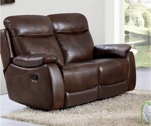 Annaghmore Leyton Tan Leather Air Fabric Recliner 2 Seater Sofa