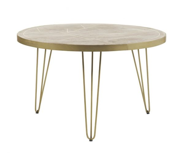 Indian Hub Light Gold Round Dining Table Only