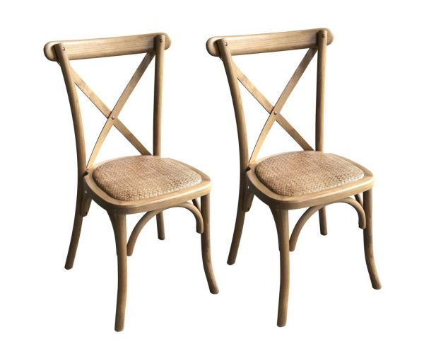 Light Oak Cross Back Bar Stool in Pair