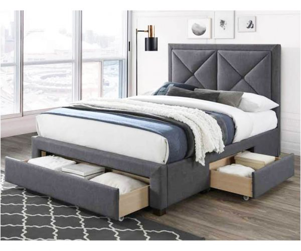 Limelight Cezanne Dark Grey Fabric 3 Drawer Bed Frame