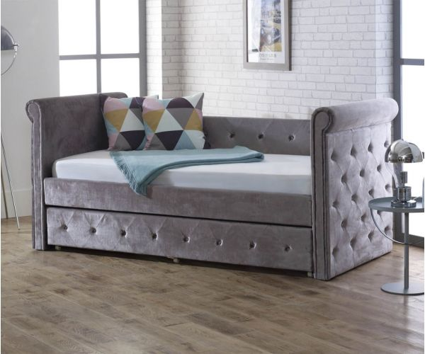 Limelight Zodiac Silver Fabric Day Bed with Trundle Guest Bed