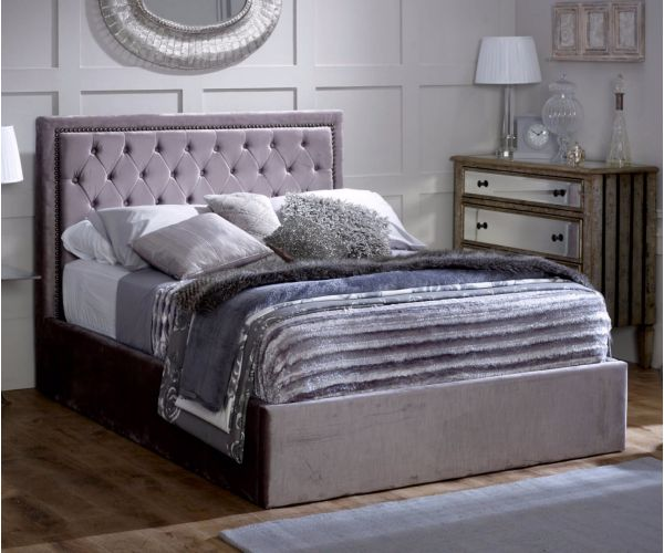 Limelight Rhea Plus Silver Ottoman Fabric Bed Frame
