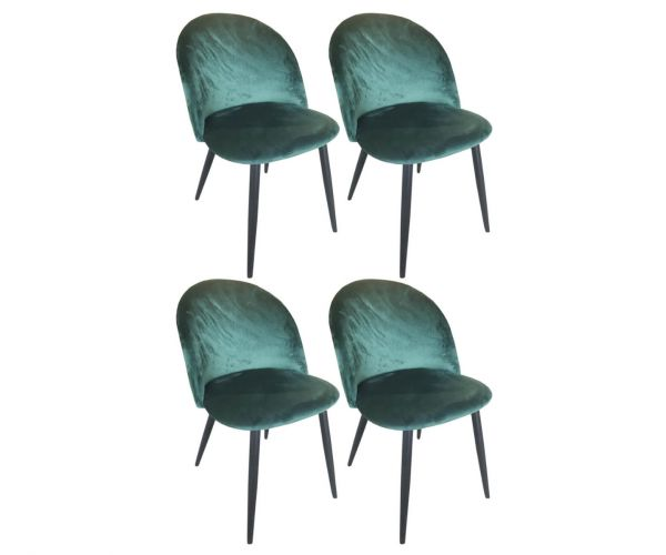 Derrys Furniture Lotus Emerald Green Chair in Set of 4
