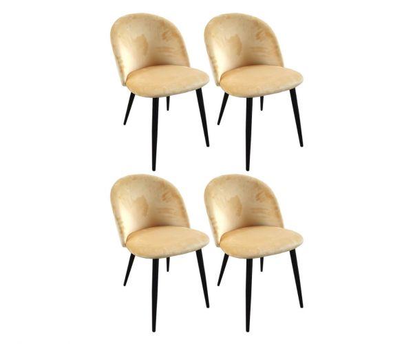 Derrys Furniture Lotus Honey Yellow Chair in Set of 4
