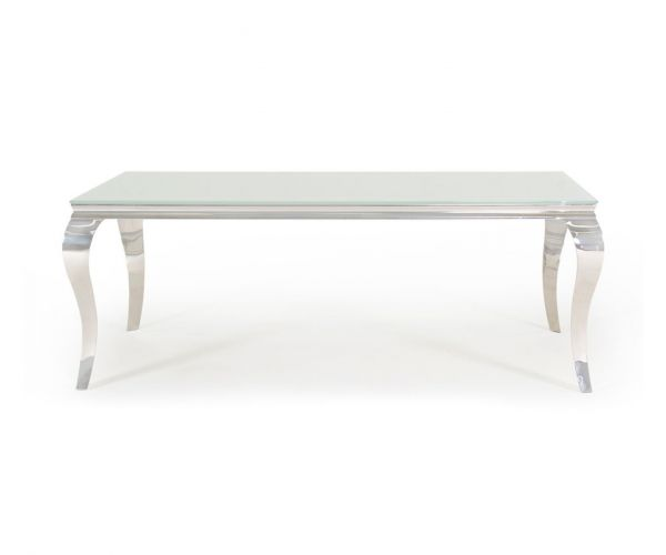 Vida Living Louis Large Glass Dining Table - White