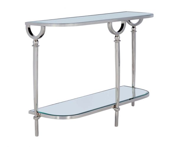 Serene Furnishings Lucknow Mirrored Glass and Nickel Console Table