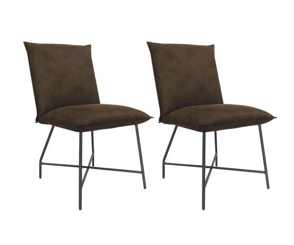 Vida Living Lukas Brown Fabric Dining Chair in Pair