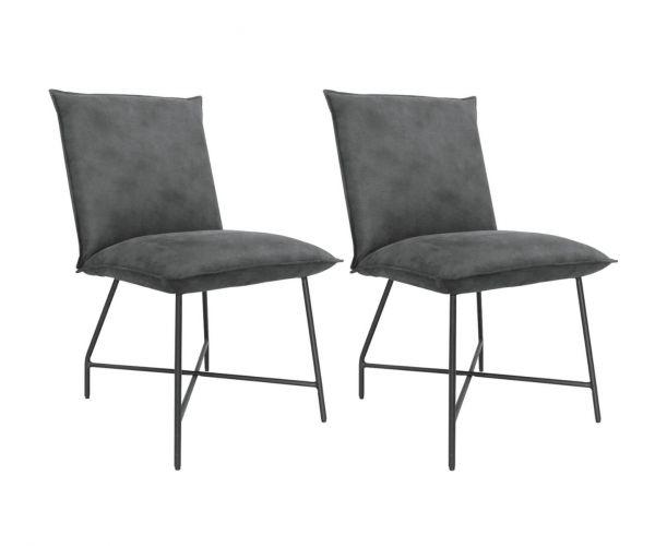 Vida Living Lukas Grey Fabric Dining Chair in Pair