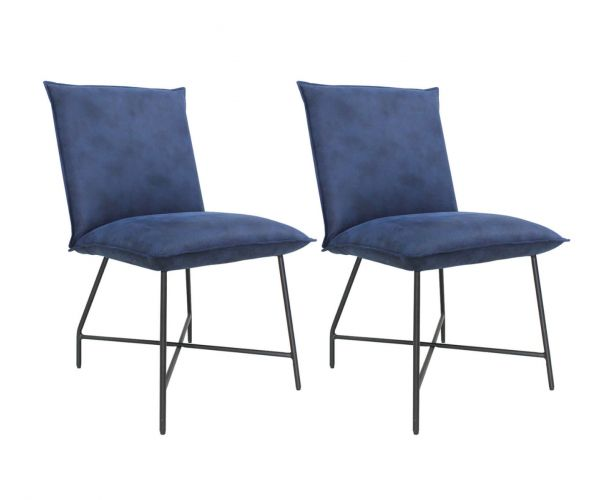 Vida Living Lukas Indigo Blue Fabric Dining Chair in Pair