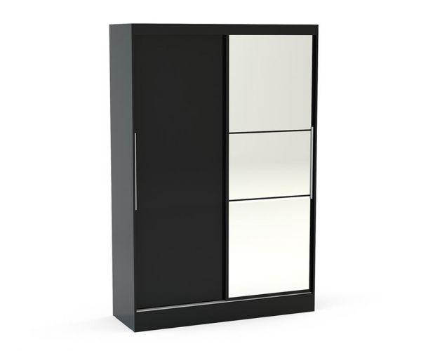 Birlea Furniture Lynx Black 2 Door Sliding Mirror Wardrobe