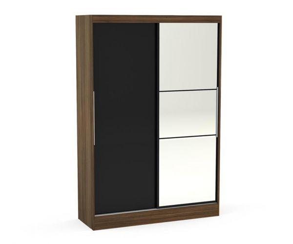 Birlea Furniture Lynx Walnut and Black 2 Door Sliding Mirror Wardrobe