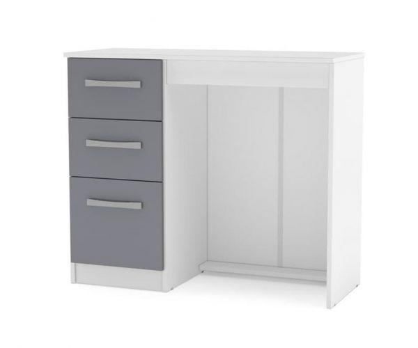 Birlea Furniture Lynx White and Grey 3 Drawer Dressing Table