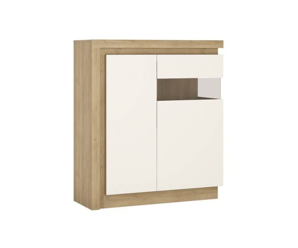 FTG Lyon Riviera Oak and White High Gloss 2 Door Designer Cabinet (RH)