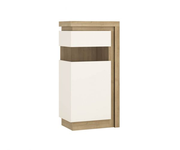 FTG Lyon Riviera Oak and White High Gloss Narrow 123.6cm High Display Cabinet (LHD)
