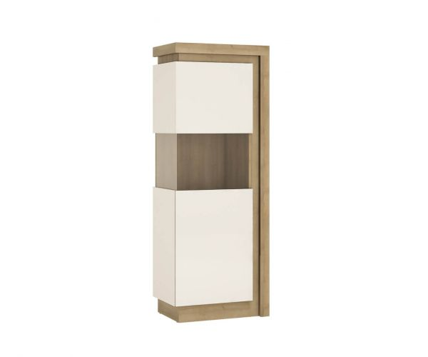 FTG Lyon Riviera Oak and White High Gloss Narrow 164.1cm High Display Cabinet (LHD)