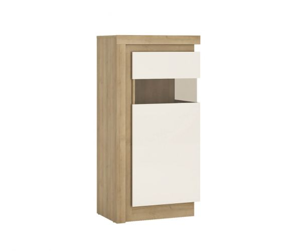 FTG Lyon Riviera Oak and White High Gloss Narrow 123.6cm High Display Cabinet (RHD)