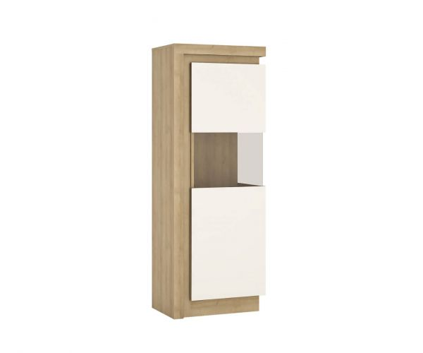 FTG Lyon Riviera Oak and White High Gloss Narrow 164.1cm High Display Cabinet (RHD)