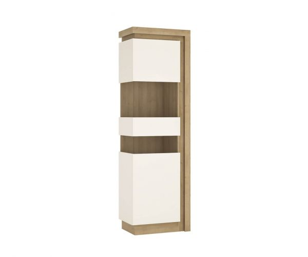 FTG Lyon Riviera Oak and White High Gloss Tall Narrow Display Cabinet (LHD)